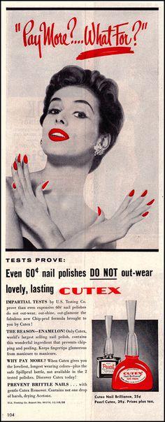 1954 Cutex Nail Polish Original Vintage Print Ad by DoubleLMom, $2.59