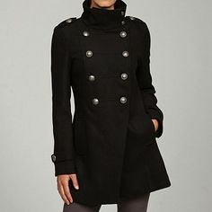 Shop for Maralyn & Me Women's Double-breasted Military Coat. Get free delivery On EVERYTHING* Overstock - Your Online Women's Clothing Destination! Military Chic, Military Style Jackets, Military Fashion, Military Coats, Raincoats For Women, Outerwear Women, Jackets For Women, Cute Winter Coats, Yellow Raincoat