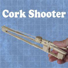 Cork Shooter -- 6 craft sticks, 3 blocks, 2 rubber bands, 1 clothespin