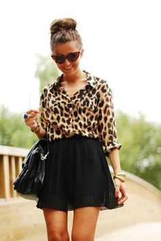 leopard print blouse + pleated skirt + topknot