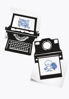 Vintage style Magnets for kitchen decor of typewriter and a Polaroid camera - pair of 2 strong magnets - a black space for a photo or note