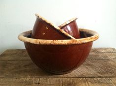 Vintage USA McCoy Hull Pottery Brown Drip Mixing Bowls on Etsy, $40.00