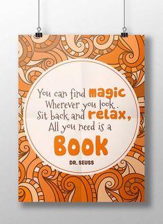 Printable dr. Seuss reading quote, library wall art, classroom, homeschoool decor, gift for kids, nursery, children's bedroom print: