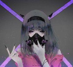 HD wallpaper: woman wearing gas mask illustration, Aoi Ogata, artwork, one person Dark Anime Girl, Manga Girl, Demon Manga, Art Manga, Chica Anime Manga, Anime Chibi, Anime Mascaras, Mascara Anime, Fan Art Anime