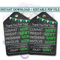 Printable Thank You Tags Volunteer Mint Labels Printable Volunteer Appreciation Gifts, Volunteer Gifts, Teacher Appreciation Week, Volunteer Ideas, Pastor Appreciation Ideas, Employee Appreciation Quotes, Volunteer Week, Staff Gifts, Student Gifts