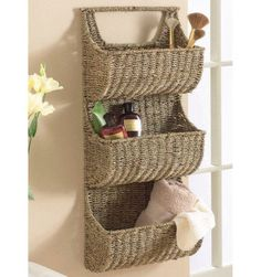 Seagrass 3 Tier Wall Basket - contemporary - wall shelves - Touch of Class: Basket Shelves, Baskets On Wall, Storage Baskets, Wall Shelves, Wall Basket, Book Shelves, Lined Wicker Baskets, Wicker Mirror, Wicker Shelf