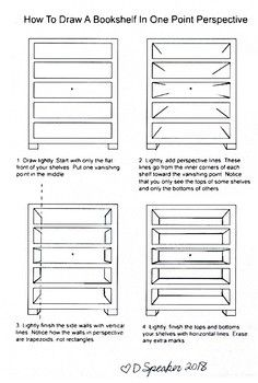 How To Draw Shelves In One Point Perspective In 2019 Perspective
