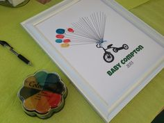 Cute Baby Shower Guestbook (Free Template). Have the guests use their thumbprints to make the balloons.