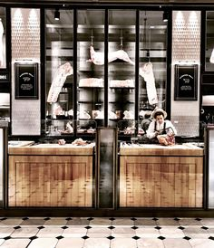 """Caroline on Instagram: """"Have you checked out the new revamped @harrods food hall lately, it's brilliant , I particularly like this meat fridge ... reminds me of a…"""" Harrods, Butcher Store, Halle, Bbq Shop, Le Ranch, Meat Store, Diner Restaurant, Food Retail, Counter Design"""