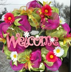 Spring Deco Mesh Wreaths | Spring Deco Mesh Wreath.
