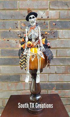 Mr Bones Centerpiece, Halloween Pumpkin Centerpiece, Skeleton, Halloween Skeleton Centerpiece,Halloween Decor,Skeleton,Halloween Centerpiece by SouthTXCreations on Etsy