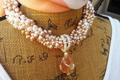 Please Pin if you like this new design!   Add this Beauty to your Spring LOOK!   Check out my 20% OFF Sale!!!! Use Code: 20OFF  Bridal Freshwater Pearl Statement Necklace, Statement Choker, Handmade, Multi-Strand, Multi-Necklace Statement #bestbeadedbling