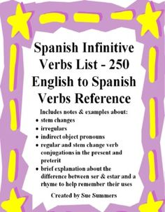 Spanish Infinitive Verbs List - 250 English to Spanish Verbs Reference - Includes notes about stem changes, irregulars, use of indirect object pronouns, examples of regular and stem change present and preterit verb conjugations and ser and estar. Spanish Games, Ap Spanish, Spanish Grammar, Spanish Teacher, Spanish Classroom, Teaching Spanish, Classroom Resources, Classroom Ideas, Learn To Speak Spanish