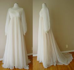 Flowing empire waist vintage wedding dress.