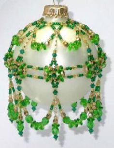 Ornament Cover May Emerald Ornament Patterb by Deb Moffett-Hall aka Patterns to Bead Christmas Ornaments To Make, Handmade Christmas, Christmas Crafts, Beaded Ornament Covers, Beaded Ornaments, Beading Projects, Bead Art, Bead Weaving, Bead Crafts