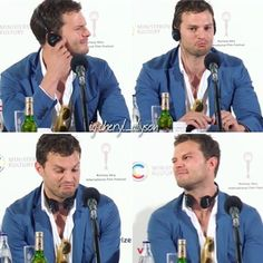 "Silly Jamie 😍 Jamie at the Karlovy Vary International Film Festival Press Conference for his film, ""Anthropoid,"" this morning (July 2, 2016). #jamiedornan #ameliawarner #anthropoid #christiangrey #fiftyshades #fiftyshadesdarker #fiftyshadesofgrey #fiftyshadesfreed #fiftyshadestrilogy #karlovyvary #karlovyvaryfilmfestival #czechrepublic #prague #onceuponatime #thefall #paulspector #sheriffgraham #kviff #seanellis #annageislerova #tobyjones#cillianmurphy"