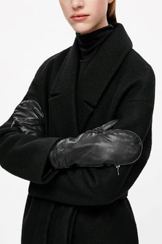 COS image 2 of Leather zip mittens in Black