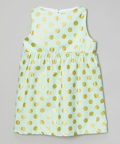 Mint and Gold Polka Dot Dress for Girls