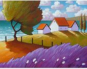 Fine Art Print by Cathy Horvath Modern Folk Windy Lavender & Trees Summer Sea Cottage Giclee Coastal Landscape Reproduction Artwork Canvas Painting Landscape, Landscape Art, Landscape Design, Coastal Art, Coastal Cottage, Coastal Homes, Coastal Living, Lake Cottage, Guache