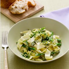 A Figure-Friendly Pasta Recipe. Calories: 179. Zest up this dish with lemon, garlic, and a splash of cream. Blend in asparagus spears for a solid serving of vitamin K and folate. | Health.com