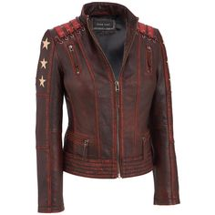 Black Rivet Distressed Stars and Stripes Leather Jacket w/ Lacing Detail                  -                                View All                  -                                Women's & Plus Size                                              - Wilsons Leather