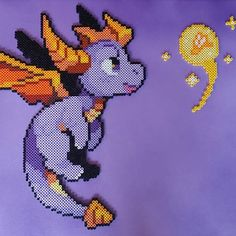 Spyro the Dragon. Melty Bead Patterns, Pearler Bead Patterns, Perler Patterns, Beading Patterns, Pokemon Perler Beads, Diy Perler Beads, Perler Bead Art, Stitch Games, Perler Bead Templates