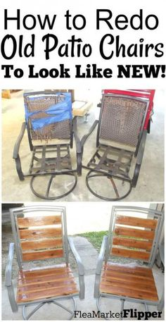 Today's post is a continued series of furniture flips that were done by YOU guys! Last year we held a contest looking for 10 furniture pieces to feature on our website, and we loved this patio chair redo. This project was done by Mitch and Chair Repair, Furniture Repair, Furniture Projects, Pallet Furniture, Painted Outdoor Furniture, Metal Patio Furniture, Street Furniture, Furniture Plans, Bedroom Furniture