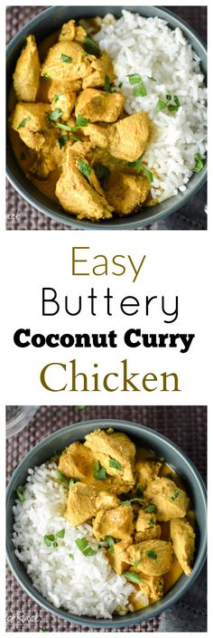 This Coconut Curry Chicken has a smooth, creamy, & buttery curry sauce with a hint of coconut and is Easy to make. Indian Food Recipes, Asian Recipes, Healthy Recipes, Easy Recipes, Indian Foods, Healthy Soup, Amazing Recipes, Brunch Recipes, Healthy Meals