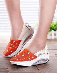 Women's #orange canvas slip on #rocker bottom sole shoe sneakers kids playing pattern print, lightweight, pattern, Shock absorption sole, casual, leisure occasions.