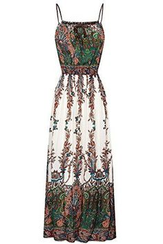 21 Boho Chic Fashions Ideas You Should Try Now! 2019 Sakananiki Women's Floral Printed Spaghetti Strap Boho Long Maxi Dresses(One Size Green) Pretty Dresses, Beautiful Dresses, Event Dresses, Maxi Dresses, Edgy Outfits, Korean Outfits, Types Of Dresses, Glamour, Dress First