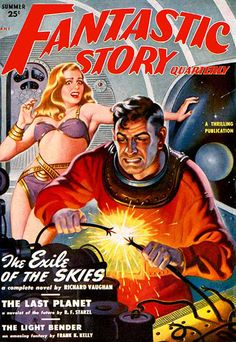 Fantastic Story (1950-Summer) - The Exile of the Skies - Pulp Fiction Cover, Earle Bergey (1901-1952)