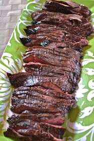 Grilled Balsamic Flank Steak.   1/4 cup balsamic vinegar, 1TBS Worcestershire sauce, 2 tsp dark brown sugar, 1 minced garlic, salt/pepper  1 lb flank steak.   In zip lock bag marinate 30 minutes at room temperature . Grill!  7-8 minutes each side or to your liking.  (can use balsamic salad dressing, or I have I used Italian dressing- marinated as long as 2 days  in refrigerator!)