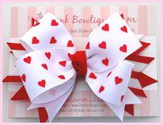Posh Hearts Valentine Girls Hair Bow