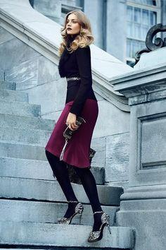 Love the plum skirt...