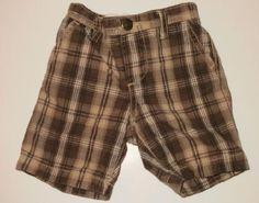 Baby Gap Brown and White Checkered Plaid Shorts Boys sz 3 6m Free Shipping