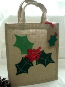 Medium Christmas Gift Bag with Star and Holly Trim, Hessian Gift Bag | wowthankyou.co.uk