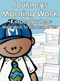 This is a kindergarten morning work supplementing Houghton Mifflin Harcourt Journeys for Kindergarten, 2014 edition. Welcome to Kindergarten focuses on letters A-J