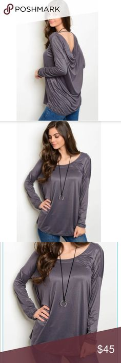 Slate Open Back Top Stunning Open Back Top in slate gray! Wear with jeans for a casual look or faux leather leggings to dress up with boots!! Gorgeous!! Sizes Small Medium Large/ Arriving this week! Available for preorder sales! HipFinds Tops Blouses