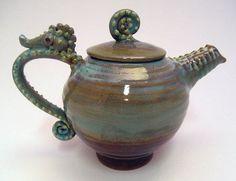 Seahorse Teapot | Seahorse Teapot Spiky Tea Pot Brown Smoky Blue by skybirdarts, $98.00