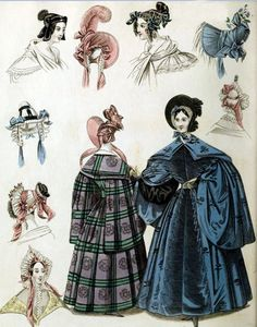 Georgian Fashion of 1836: Plate No 4 - Outerwear & Bonnets  Uhhh...Pretty sure this was in one of Fashion Merchandising Textbooks!