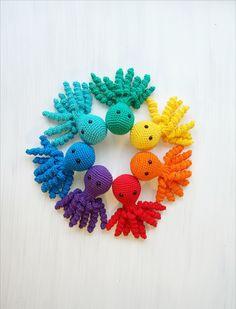 Crochet octopus toy for preemie / Crochet sea creature amigurumi animal / montessori materials baby gift / waldorf rainbow toddler toys Preemie Crochet, Crochet Baby, Crochet Gifts, Crochet Toys, Halloween Gift, Tiny Octopus, Crochet Sea Creatures, Organic Baby Toys, Crochet Octopus