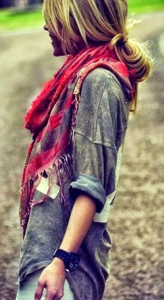 Oversized Tee With Red Patched Scarf