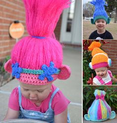 These adorable crochet troll doll patterns include everything from the classic troll dolls you grew up with, to the new Trolls Poppy and Branch! Crochet Troll Hat, Crochet Kids Hats, Crochet Beanie, Crochet Gifts, Knit Crochet, Crochet Poppy Hat, Crochet Costumes, Crochet Halloween Costume, Princess Poppy