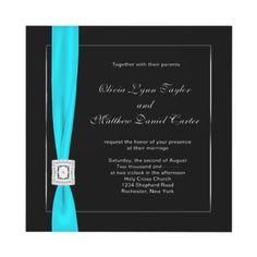 Teal And Black Wedding Invitation