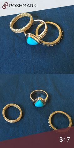 Set of 3 Gold Rings Set of 3 gold tone rings. Mesh ring is stainless steel and the other two are costume. Size 7 & 7.5. Jewelry Rings