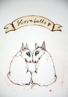 English bull terrier art - Can anyone name me the artist?! So cute!