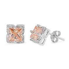 Princess Cut Champagne CZ Halo Sterling Silver Stud Post Earrings #Unbranded #Stud