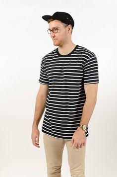 Staple Stripe Tee - Navy/White - BAAM Labs - 1