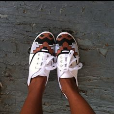 """Finally!!! My very own DIY shoes are complete. love them.  $5 (!!!) Walmart """"keds"""" and acrylic paint. I slid insoles into these babies and they're now one of my most comfortable pair of shoes! :-D"""