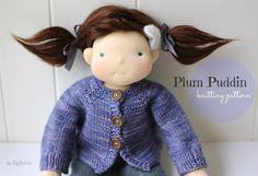 PDF knitting pattern, Doll Clothing Patterns, DIY, Waldorf Style Clothing Patterns, Plum Puddin' doll cardigan by Fig&me